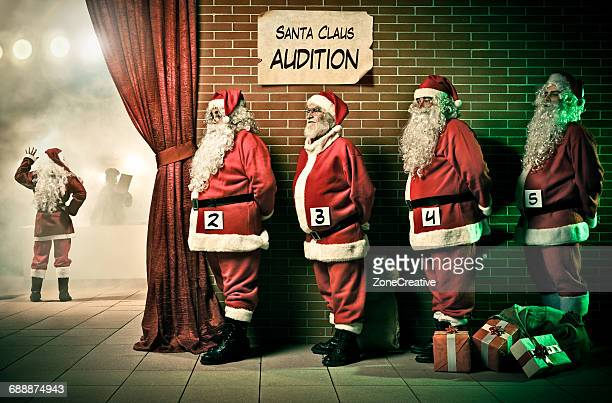 Santa Claus in line for a theater audition