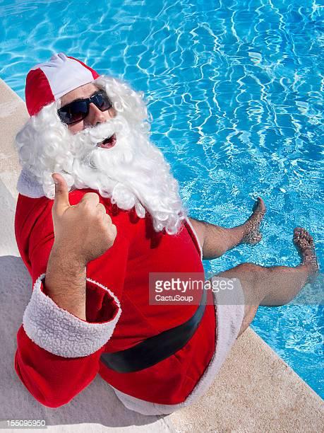 Santa Claus in the pool