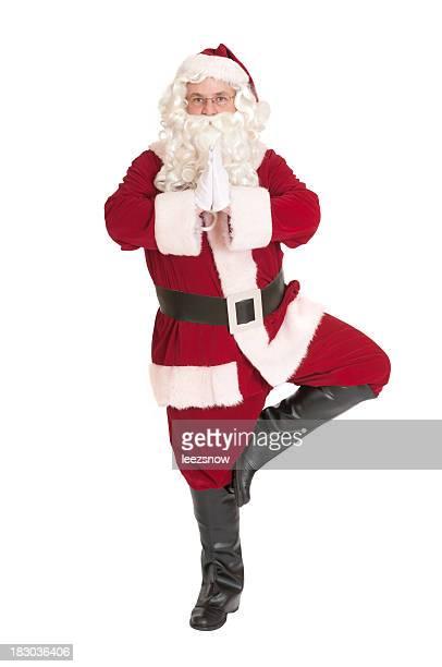 Pai Natal em Pose de Árvore de ioga série