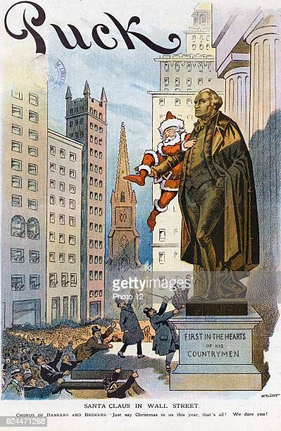 Santa Claus in Wall Street by Samuel Ehrhart 18621937 artist Date 1913 Illustration shows an angry mob of bankers brokers and financiers threatening...