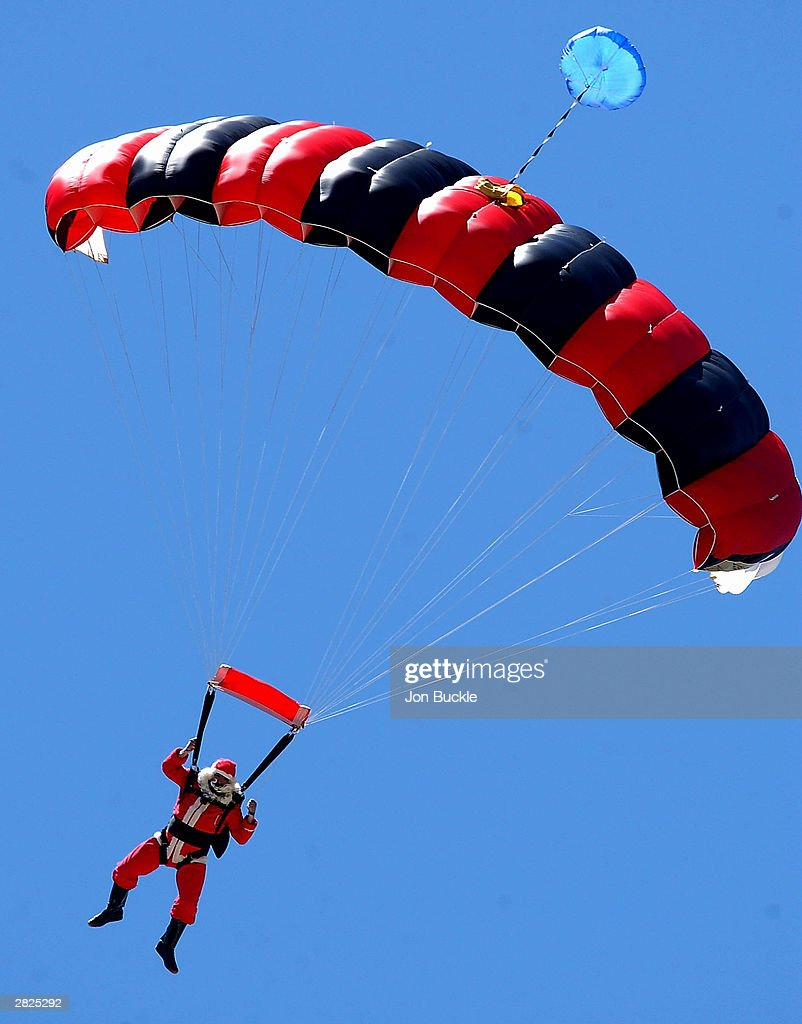 Santa Claus is spotted flying into the WACA on Family day during day two of the Pura Cup match between Western Warriors and Victorian Bushrangers at the WACA December 21, 2003 in Perth, Australia.