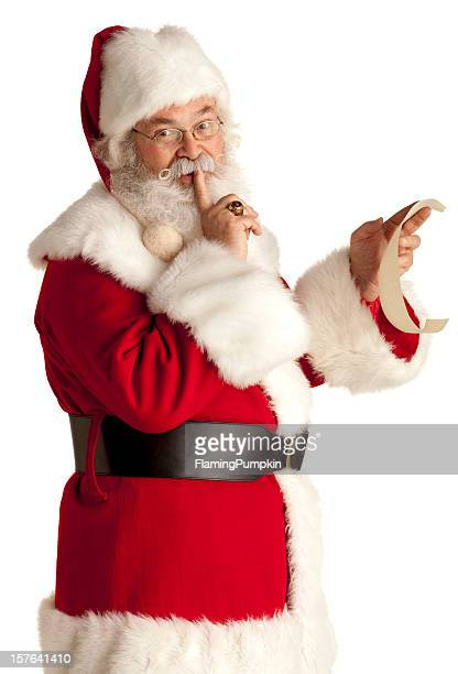 Santa Claus keeping a secret. White Background.