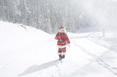Santa Claus on a snowy roadway