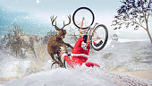 Funny Bad Santa Claus on bicycle with friend. Merry Christmas and Happy New Year! Saint Nicholas day. Mannequin Challenge.