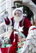 Santa Claus participates in The 77th Annual Macys Thanksgiving Day Parade on November 27 2003 in New York City