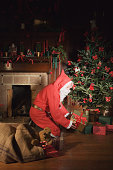 Santa Claus placing presents under Christmas tree