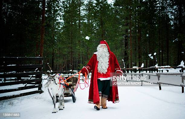 Santa Claus prepares a reindeer and sled in outside Rovaniemi Finnish Lapland on December 15 2011 AFP PHOTO/JONATHAN NACKSTRAND