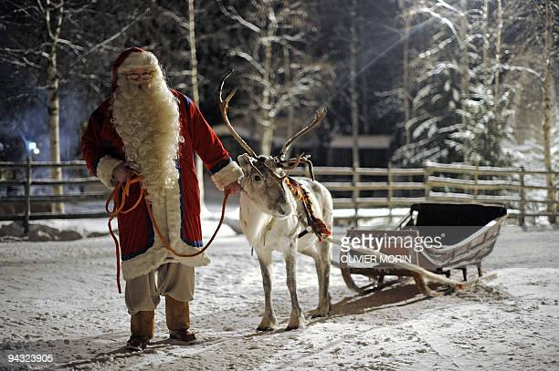 Santa Claus prepars his Reindeer and sled in Rovaniemi on December 16 2008 Rovaniemi's Christmas theme park is in full swing teeming mainly with...