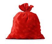 Santa Claus red bag full, on white background. File contains a path to isolation