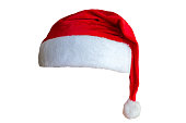 Bright Santa Claus red hat isolated on white background
