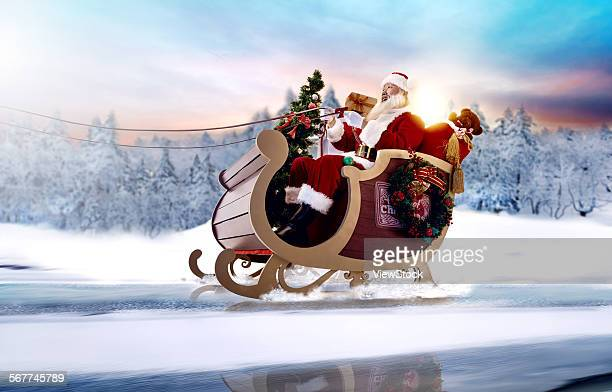 Santa Claus rides the sled to send a gift