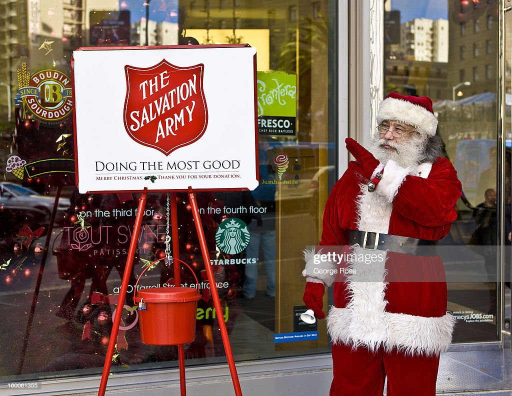 Santa Claus rings a bell for The Salvation Army in front of Macy's in Union Square on December 22 in San Francisco California Though much of the...