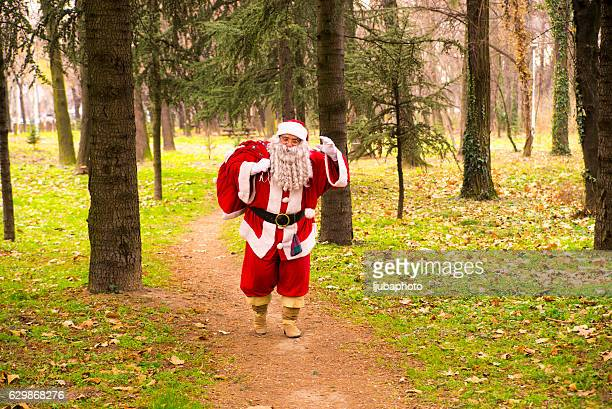 Santa Claus  Running in forest  With A bag Of Gifts