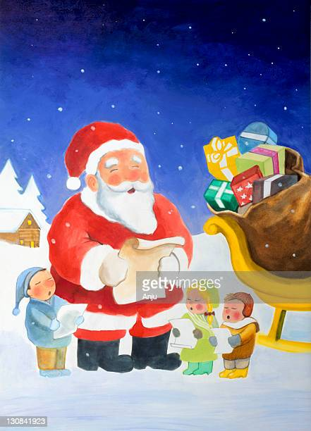 Santa claus sings with children