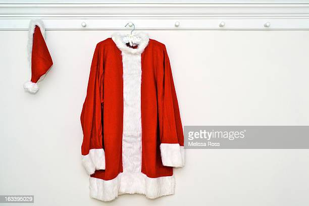 Santa Claus suit or costume hanging on a wall