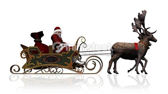 Santa Claus Con Trineo Y Renos Aislados Sobre Fondo Blanco