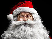 Santa claus's human face on  black background