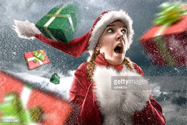 Santa cought in a gift storm