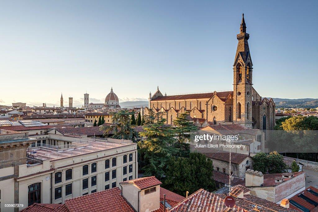 Santa Croce church in Florence : Stock Photo