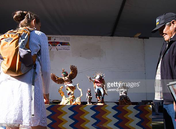 2016 Santa Fe Indian Market: Hopi Sculptor with Kachina Dolls