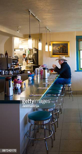 Santa Fe NM: Cowboy Eats Alone at Old-Fashioned Lunch Counter