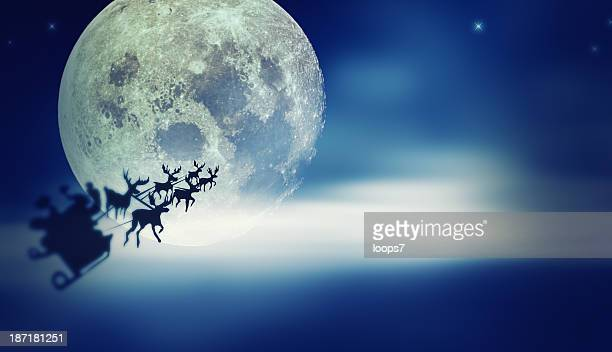 Santa flying over Moon