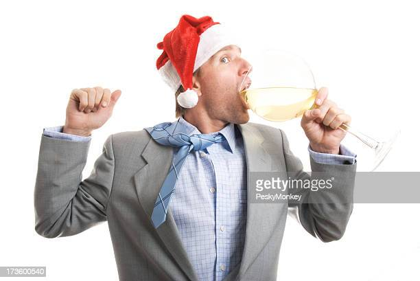 Santa Hat Businessman Office Worker Takes Big Gulp Wine Glass