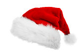 Traditional Santa Clause hat isolated on white background