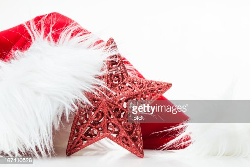 Santa hat with red star : Stock Photo