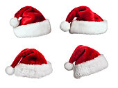 Set of  Santa Claus fur hats isolated on white background