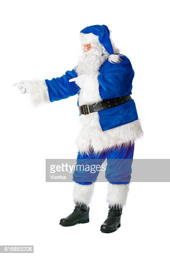 Santa in blue costume showing something (isolated on white) : Stock Photo