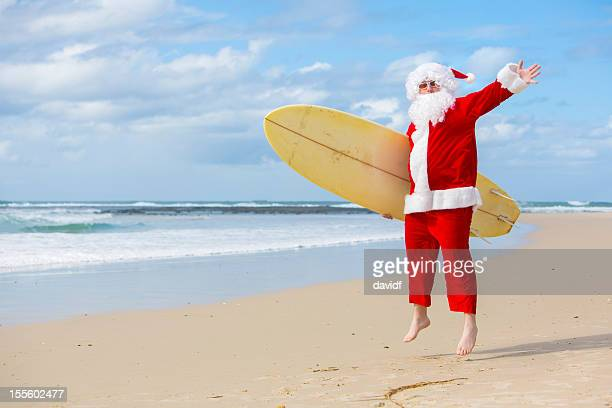 Santa Jumping on the Beach