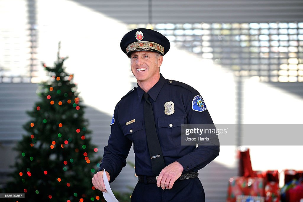 Santa Letters founder CMFD Firefighter Todd Palumbo kicks off the 12th annual Santa Letters event in partnership with Bloomingdales South Coast Plaza to deliver holiday gifts to underpriviledged families on December 22, 2012 in Costa Mesa, California.