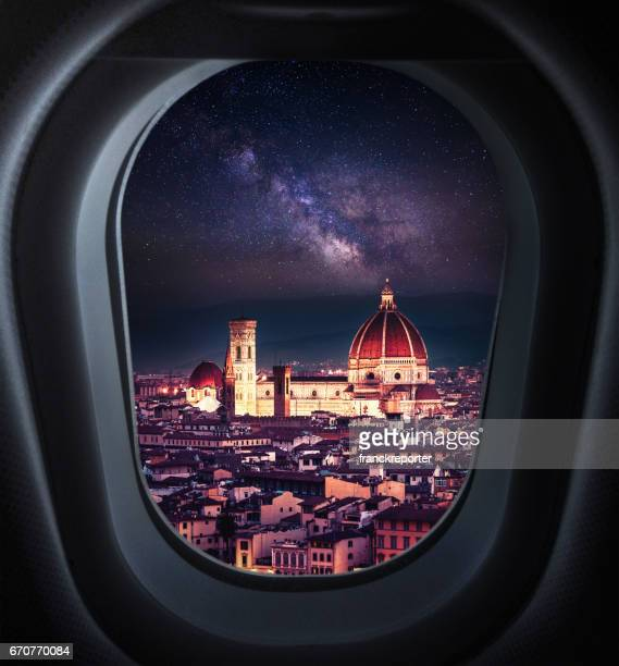 Santa maria del fiore skyline at night from the porthole