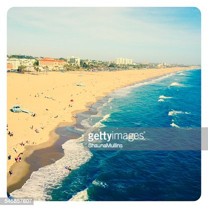 USA, California, Santa Monica, View of beach at Santa Monica Pier