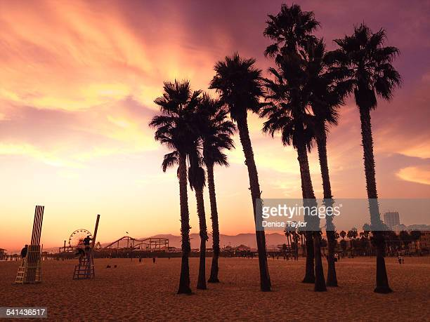 Santa Monica Beach in red