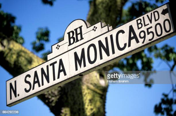 Santa Monica Boulevard Street Name Sign - Los Angeles, California, USA.