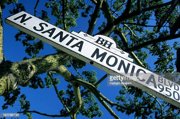 N. Santa Monica Boulevard street sign, Los Angeles