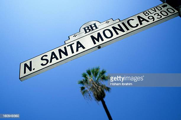 N. Santa Monica Boulevard street sign-Los Angeles