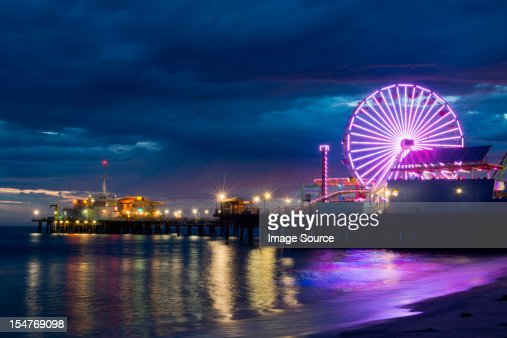 Santa monica pier at night, california, usa