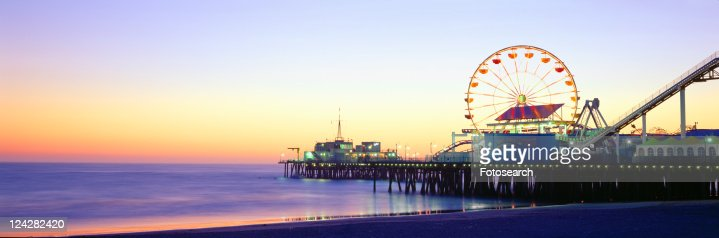 Santa Monica Pier at sunset, California