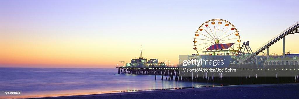 'Santa Monica Pier at sunset, California'