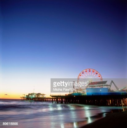 Santa Monica Pier in Los Angeles at dusk