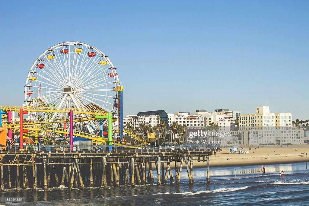 Santa Monica pier just before sunset.