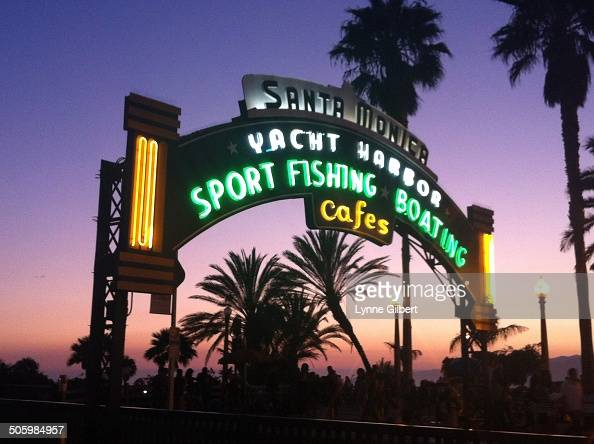 Santa Monica Pier sign is one of the most popular Roadside Attraction on Pacific Coast Highway in Santa Monica CA It shows where the entrance to the...