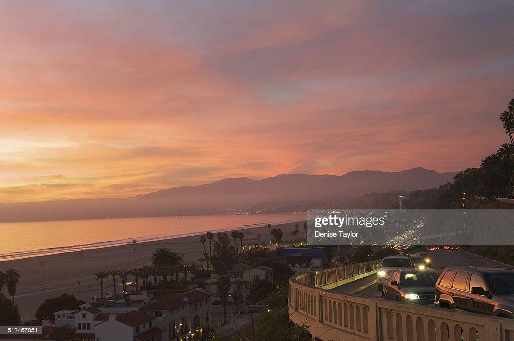 Santa Monica pink sunset