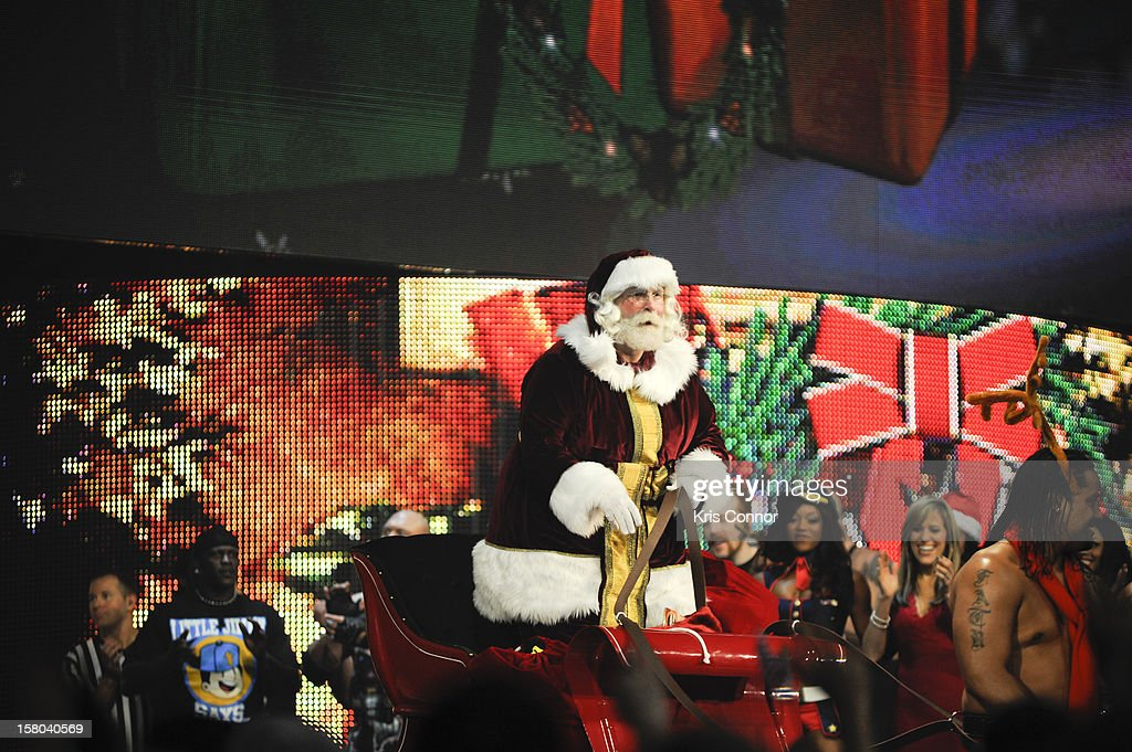 Santa performs during the 10th anniversary of WWE Tribute to the Troops at Norfolk Scope Arena on December 9, 2012 in Norfolk, Virginia.