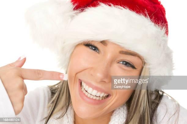 santa pointing at smile