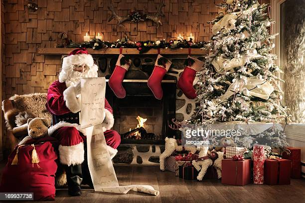 Santa reading the list