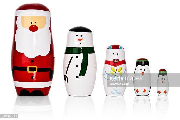 Santa, Snowman, Penguins Russian dolls set